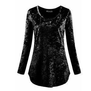 Tops - Women's long sleeve neck black vintage velvet top